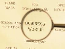 Título para o jornal para o ` do mundo do negócio do ` do artigo Fotografia de Stock Royalty Free