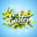 Título Pascua con las flores de la primavera Vector Foto de archivo