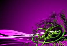Títulos de Grunge eu te amo com motriz floral Fotos de Stock Royalty Free