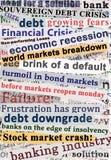 Títulos de la crisis Imagen de archivo libre de regalías