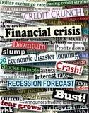 Títulos de la crisis financiera Imágenes de archivo libres de regalías