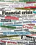 Títulos de la crisis financiera Foto de archivo libre de regalías