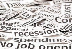 Títulos de la recesión Foto de archivo libre de regalías