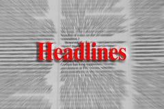 Títulos escritos en rojo con un artículo periodístico borroso foto de archivo
