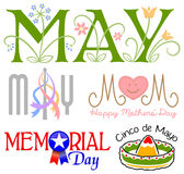 Sistema del clip art de los acontecimientos de mayo