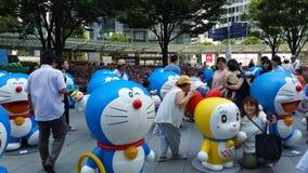 Tóquio de Roppongi, o 18 de julho de 2016 - exposição de Doraemon na zona aberta Imagens de Stock