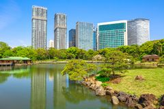 Tóquio dos jardins de Hamarikyu fotos de stock royalty free