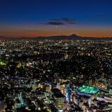 Tóquio e o Monte Fuji na noite Fotografia de Stock Royalty Free
