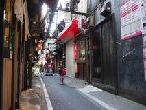 TÓQUIO, JAPÃO O 28 DE JUNHO - 2017: Povos não identificados que andam em barras tradicionais da rua traseira em Shinjuku Gai dour foto de stock royalty free