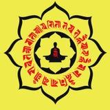 Tótem de Lotus y escrituras budistas Fotografía de archivo