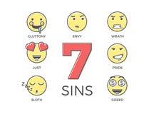 7 tödliche Sünden dargestellt durch sieben Emoticoncharakterausdrücke Dünne Linie Ikonenillustrationen des Vektors Bunter Entwurf Stock Abbildung