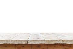 Töm överkanten av den trätabellen eller räknaren som isoleras på vit backgroun Royaltyfria Bilder