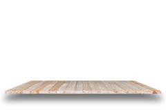 Töm överkanten av den trätabellen eller räknaren som isoleras på vit backgroun royaltyfri foto