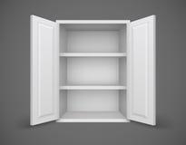 Töm asken med öppna dörrar och bokhyllor Arkivfoto