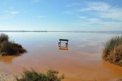 Töm bänkanseendet i mitt av vattnet Arkivbilder