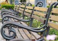 Töm bänkar i en parkera fotografering för bildbyråer