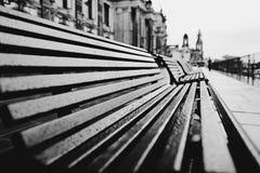 Töm bänkar i en regnig sommardag arkivbild