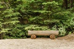 Töm bänken i skogen nära vägen Arkivbilder