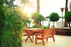 Töm bänken på strandgångbanan Soligt vila område Tropisk grön palmträdbakgrund Ljus effekt för sol och solig bokeh Royaltyfri Bild