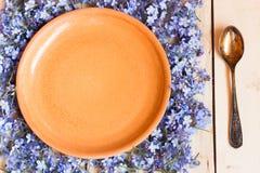 Töm den bruna keramiska bunken Bakgrund av blått glömma-mig-nots Arkivfoto