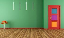 Töm den gröna moderna inre med dörren royaltyfri illustrationer