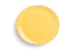 Töm den gula ovala plattan på vit bakgrund, inclu för snabb bana Fotografering för Bildbyråer