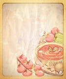 Töm den pappers- bakgrunden med handen drog grafiska illustrationen av tomatsoppa Royaltyfri Foto