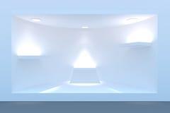Töm det cirkelskyltfönstret eller podiet med belysning och ett stort fönster Royaltyfria Bilder