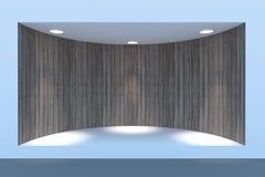 Töm det cirkelskyltfönstret eller podiet med belysning och ett stort fönster Royaltyfri Bild