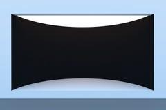 Töm det cirkelskyltfönstret eller podiet med belysning och ett stort fönster Arkivfoto