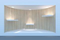 Töm det cirkelskyltfönstret eller podiet med belysning och ett stort fönster Arkivfoton