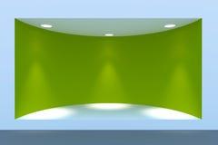 Töm det cirkelskyltfönstret eller podiet med belysning och ett stort fönster Arkivbild