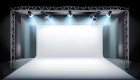 Töm etappen i televisionstudio också vektor för coreldrawillustration Arkivfoton