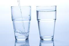 töm fullt glass vatten Arkivfoton