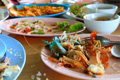 Töm maträtten efter matmål arkivbilder