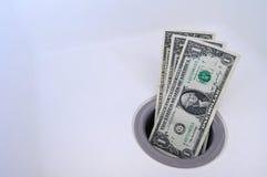 töm ner pengar arkivfoto