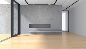 Töm rum med betongväggparkettgolvet och det panorama- fönstret royaltyfri fotografi