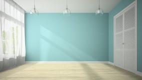 Töm rum med den blåa tolkningen för väggen 3D Arkivbilder