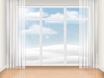 Töm rum med det stora fönstret Royaltyfri Foto