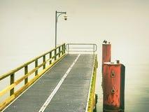 Töm stålvågbrytaren i hamn Stålspisgallerbräde Den svarta kormoran sitter på pol Royaltyfri Foto