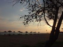 Töm stranden med paraplyer och solnedgångar Royaltyfri Bild