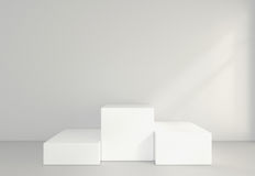 Töm vitt rum med en sockel för presentation framförande 3d Fotografering för Bildbyråer