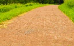 Tönerne Straße mit Weg des grünen Grases ein warmes Sommertageshintergrundfeiertagswochenende Lizenzfreies Stockbild