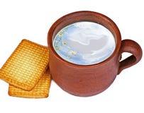 Tönerner Krug Milch mit Plätzchen Lizenzfreie Stockbilder