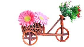 Töpfe, hölzernes Fahrrad Stockbild