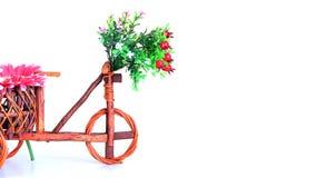 Töpfe, hölzernes Fahrrad Stockfoto