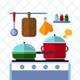 Töpfe und Wannen auf einem Ofen, Küche, die flachen Vektorkonzepthintergrund kocht Stockfotografie