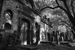 Túmulo antigo no cemitério de Olsany em Praga em BW Fotografia de Stock Royalty Free