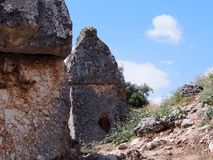 Túmulo de Lycian na cidade de Tlos fotos de stock