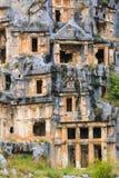 Túmulos antigos do corte da rocha de Lycian Foto de Stock